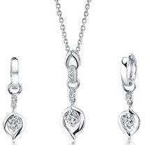 Sterling Silver Heart Pendant Earrings Set with CZ Style SS3104