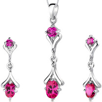 Oval Round Combination 2.75 carats Sterling Silver Ruby Pendant Earrings Set Style SS3148