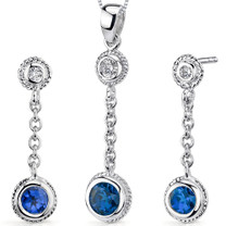 Bezel Set 1.50 carats Round Shape Sterling Silver Sapphire Pendant Earrings Set Style SS3332