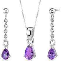 Dangling 1.50 carats Pear Shape Sterling Silver Amethyst Pendant Earrings Set Style SS3404