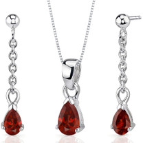 Dangling 2.00 carats Pear Shape Sterling Silver Garnet Pendant Earrings Set Style SS3406