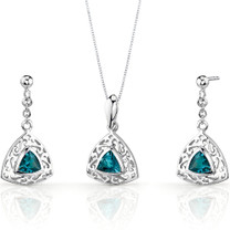 Filigree Design 1.50 carats Trillion Cut Sterling Silver London Blue Topaz Pendant Earrings Set Style SS3440