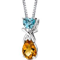 Sterling Silver 2.50 Carats Swiss Blue Topaz And Citrine Pendant Style SP8618