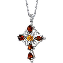 Sterling Silver 3.00 Carats Garnet And Citrine Pendant Cross Style SP8766