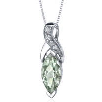 Striking Opulence 1.50 Carats Marquise Shape Sterling Silver Green Amethyst Pendant Style SP9468