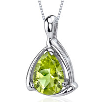 Enchanting Elegance 1.75 Carats Pear Shape Sterling Silver Peridot Pendant Style SP9710