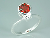 1.75 Carats Round Genuine Garnet Sterling Silver Ring Style SR8666