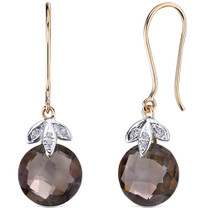 10 Karat Two Tone Gold 7.00 carat Cut Smoky Quartz Diamond Earrings Style E18408