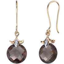 10 Karat Two Tone Gold 7.00 carat Cut Smoky Quartz Diamond Earrings Style E18422