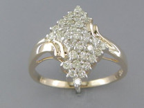0.50 cts Diamond Cluster Ring 14Kt Yellow Gold Style R54016