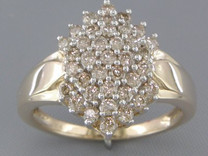 0.80 cts Diamond Cluster Ring 14Kt Yellow Gold Style R54728