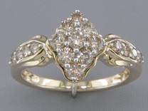 0.88 cts Diamond Cluster Ring 14Kt Yellow Gold Style R54732