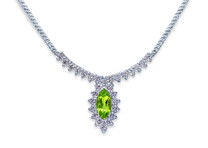 1.75 carats Marquise Shape Peridot & White CZ Gemstone Necklace in Sterling Silver Style SV1190