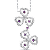 0.75 carat Round Shape Amethyst & White CZ Necklace in Sterling Silver Style SV1532