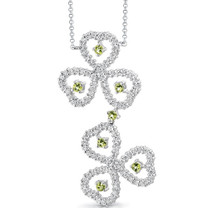 0.75 carat Round Shape Peridot & White CZ Necklace in Sterling Silver Style SV1536