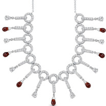 5.50 Carats Briolette Drop Garnet & White CZ Necklace in Sterling Silver Style SV1548