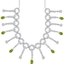 4.75 Carats Briolette Drop Peridot & White CZ Necklace in Sterling Silver Style SV1550