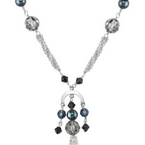 La Nina: Sterling Silver Charm Fringe Necklace with Swarovski Crystals and Pearls Style SV1592