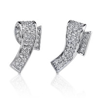 Sophisticated Elegance: Sterling Silver Wrap design Pave Diamond Stud Post Earrings Style MDE1136