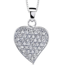 Sparkling Love: Sterling Silver Pave Diamond Dangle Heart Pendant Style MDP1134
