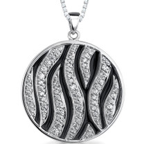 Stellar Beauty: Sterling Silver Celebrity Style Medallion Pendant with CZ Style MDP1174