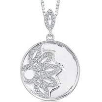 Sterling Silver Celebrity Inspired Engraved Round Medallion Pendant with CZ Style MDP1214