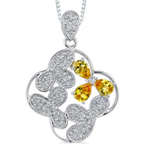 Sterling Silver Quatrefoil Shape Pendant with Yellow/White CZ Style MDP1240