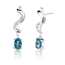 2.00 cts Oval Cut London Blue Topaz Earrings Style SE1714