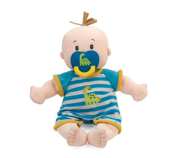 If you love our top-selling soft Baby Stella collection, you'll love our new addition! Our new baby Boy newborn is the cutest little guy around. Like the others, he has lifelike toes, belly button and a plump tummy. He comes in a cute blue and white striped onesie that has a dinosaur embroidered on it and matching pacifier.
