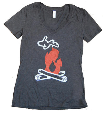 Up North Michigan Ladies V-Neck Campfire Tee Shirt
