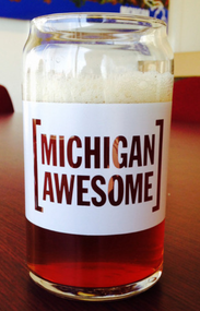 "Michigan Awesome ""Hand Crafted"" Can Glass"