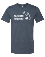 Michigan PAWesome in heather Navy