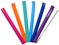 Assorted colors of metal straws.