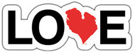"Love Michigan 8"" Die Cut Sticker White / Red"