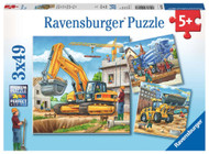 Large Construction Vehicles 3 x 49 pc Puzzle