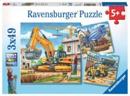 Large Construction Vehicles 3 x 49 pc Puzzle