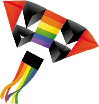 Double French Military Kite - Rainbow