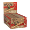 Zig Zag Unbleached Pre-Rolled Cones 1 1/4 - (24 -Packs of 6) 144 Total