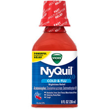 Vicks Nyquil Liquid  Cherry 8 Fluid Ounces - 6 Per Pack