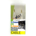 Aux, Male to Male 3.5mm 3FT. WHITE  AUX CABLE RETAIL PACK.