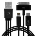 DATA CABLE 4 in 1 for iPhone 5, iPhone 4/4s and Micro V8/V9 to USB 2.0 Black Color