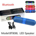 Mini Bluetooth Speaker BT808L Portable Wireless Speaker with LED Lights, COLOR BLUE.