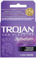 TROJAN - HER PLEASURE SENSATIONS PREMIUM CONDOMS 3CT - 6PC