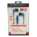 QFX EARPHONES H-55 W/Mic Blue