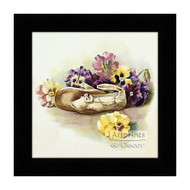 Antique Shoes with Pansies - Framed Art Print