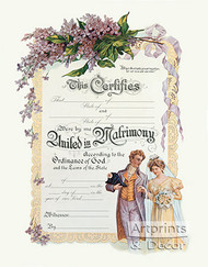 United in Matrimony - Certificate of Marriage - Art Print