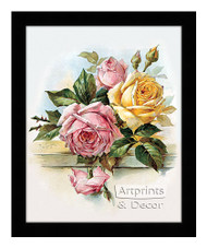 Pink and Yellow Roses - Framed Art Print