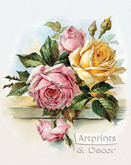 Pink and Yellow Roses by Paul de Longpre - Art Print