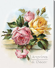 Pink and Yellow Roses by Paul de Longpre - Stretched Canvas Art Print