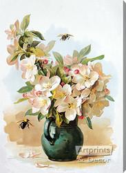 Apple Blossoms by Paul de Longpre - Stretched Canvas Art Print